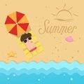 Hello summer,man sleep on the beach Royalty Free Stock Photo