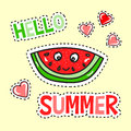 Hello Summer poster with funny watermelon Royalty Free Stock Photo