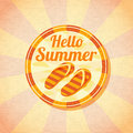 Hello summer retro background with beach slippers Royalty Free Stock Photo