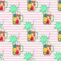 Hello summer seamless pattern. Fresh smoothie and fruits on stripped background. Royalty Free Stock Photo