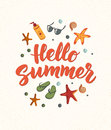 Hello Summer text with beach elements. Sunscreen, sunglasses, cocktail, starfish, flip flops.