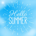 Hello Summer text in a blue sky with clouds. Creative vector illustration. Summer and vacation theme. Flyer template Royalty Free Stock Photo