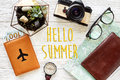 Hello summer, time to travel concept, flat lay. map passport mon Royalty Free Stock Photo