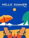 Hello Summer travel poster. Vector flat illustration