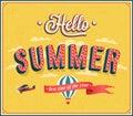 Hello summer typographic design. Royalty Free Stock Photo
