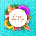 Hello Summer typographic on withe circle background. Tropical plants, flower, beach ball, sunglasses, cocktail, ice Royalty Free Stock Photo
