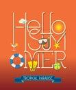 Hello Summer Typography Illust...
