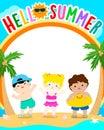 Hello summer vector, cute multiracial children template design