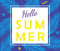 Hello summer vector poster with palm leaves.