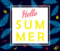 Hello summer vector poster with palm leaves