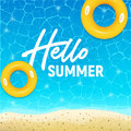 Hello summer web banner background. Sea or pool with sand. Hello Summer Holiday party beach template backdrop. Vector illustration