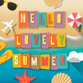 Hello summer web banner background. Sea with sand. Hello Summer Holiday party beach template backdrop, vector.
