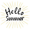 Hello summer on a white background.