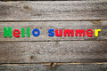 Hello summer words made of colorful magnets Royalty Free Stock Images