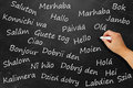 Hello in various languages black board with word Stock Photo