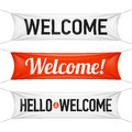 Hello and welcome banners illustration Stock Images