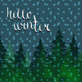 Hello winter background. Christmas night. Pine trees silhouette . Vector illustration Royalty Free Stock Photo