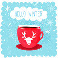 Hello winter illustration with red cup with deer at blue snow background. Cute christmas card design Royalty Free Stock Photo