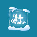Hello winter quadrate blue greeting card
