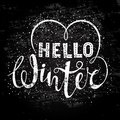 Hello winter text lettering with heart element. Seasonal shopping concept to design banners, price or label.
