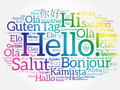 Hello word cloud in different languages Royalty Free Stock Photo