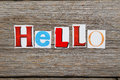 Hello the word in cut out magazine letters Stock Photography