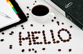 Hello word on white table Royalty Free Stock Photos