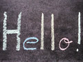 Hello write whello in black board colors Stock Images
