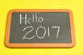 Hello written on a blackboard Royalty Free Stock Images