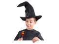 Helloween boy with a big smile in fancy dress. Isolated image Royalty Free Stock Photo