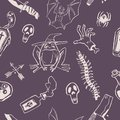 Pattern with a frog, a coffin, knives, a bat, poison. Two-color pattern for Halloween, suitable for packaging and decoration.