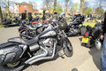 Hells angel motorcycles a group of parked at the funeral of a chapter president Royalty Free Stock Photography