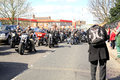 Hells angels funeral procession hundreds of angel bikers in a for the president of a chapter Stock Image