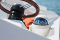 Helm station on sailing boat Royalty Free Stock Photo