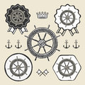 Helm vintage sea naval symbol emblem label collection