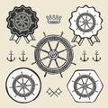 Helm vintage sea naval symbol emblem label collection