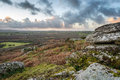 Helman tor in cornwall sunset at a natural granite rock formation near bodmin Stock Photography