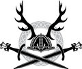 Helmet with antlers and viking swords stencil Royalty Free Stock Photos