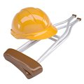 Helmet and crutches Royalty Free Stock Photography