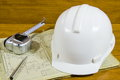 Helmet roulette and pen on documentation project Royalty Free Stock Photography