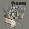 Helmet, shield and axe. Viking.