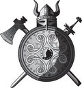 Helmet, sword, axe and Shield of Vikings Stock Images