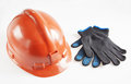Helmet And Working Gloves Royalty Free Stock Photo