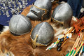 Helmets and weapons of medieval knights Royalty Free Stock Photo