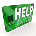 Help bank card means financial and monetary meaning contributions Royalty Free Stock Images