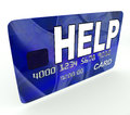 Help bank card means give monetary support meaning and assistance Stock Photos