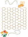 Help the bee childrens game helping reach flower through hive shaped maze Stock Photography