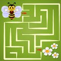 Help bee find path to flower. Labyrinth. Maze game for kids