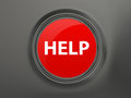 Help button red shiny on dark background Royalty Free Stock Photo