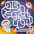 Help cosmonaut find path to rocket. Labyrinth. Maze game for kid